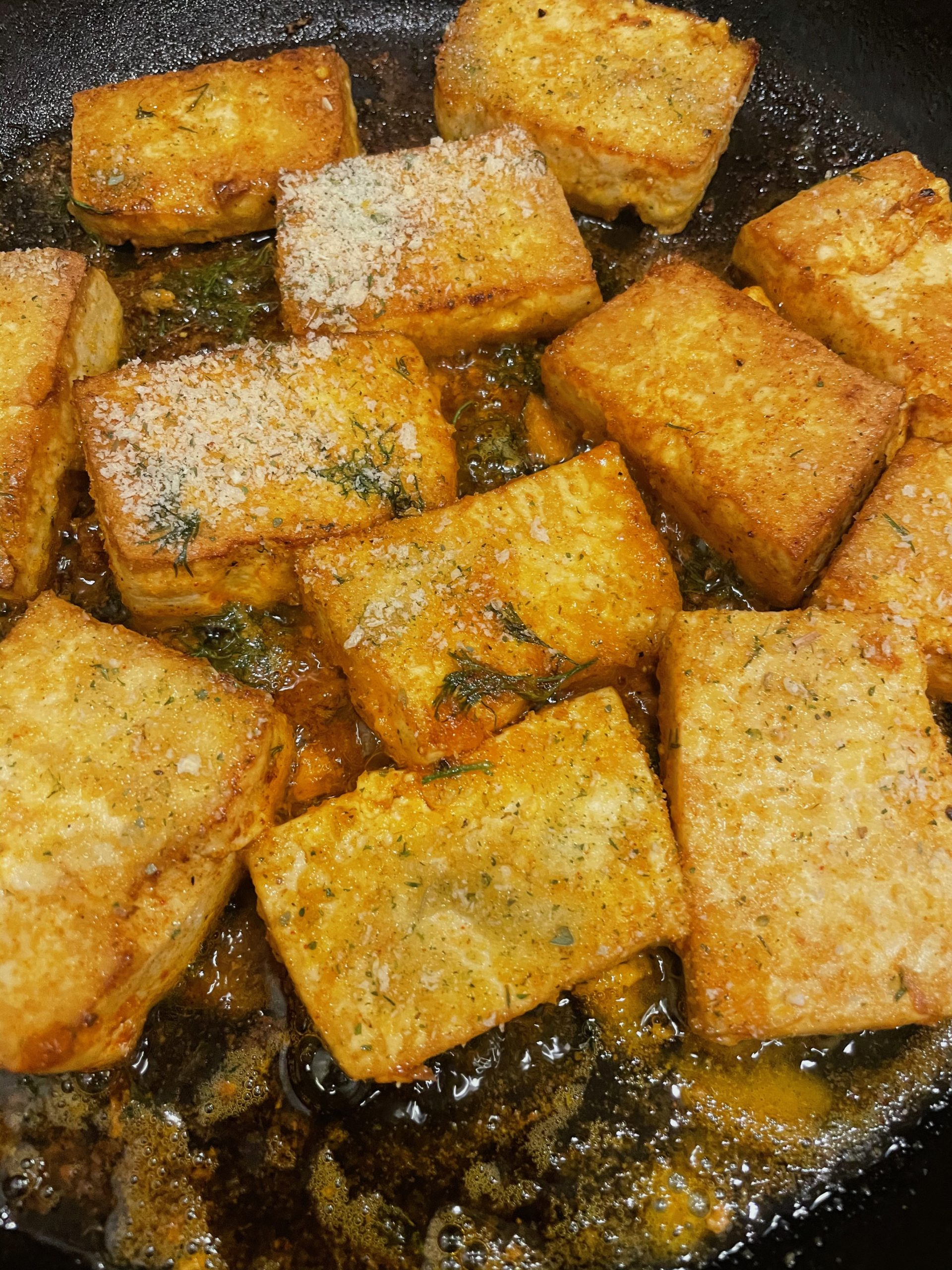 Tofu is frying!