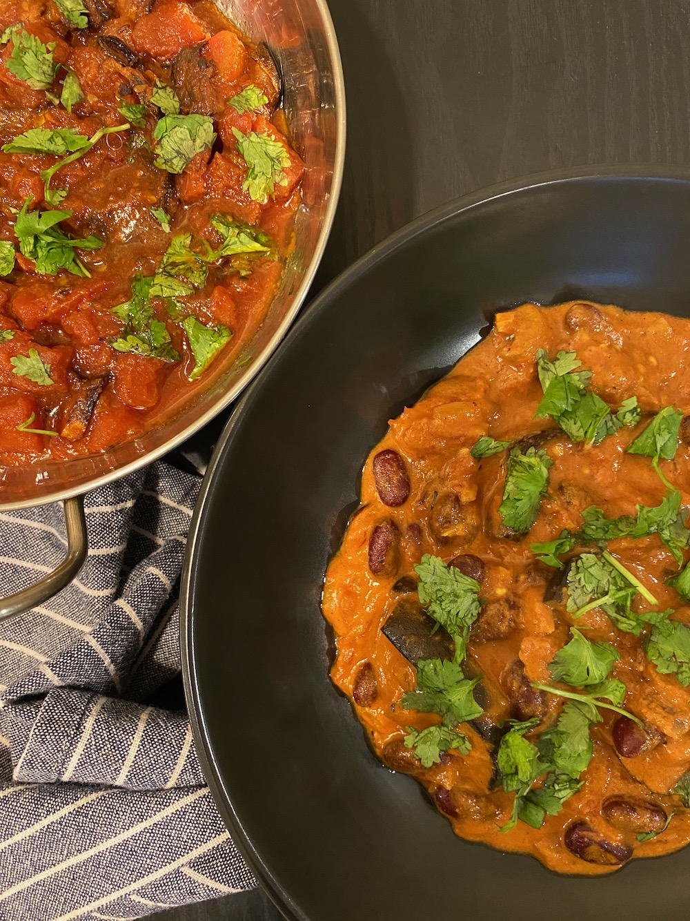 Served with Indian style zucchini simmered in tomatoes.