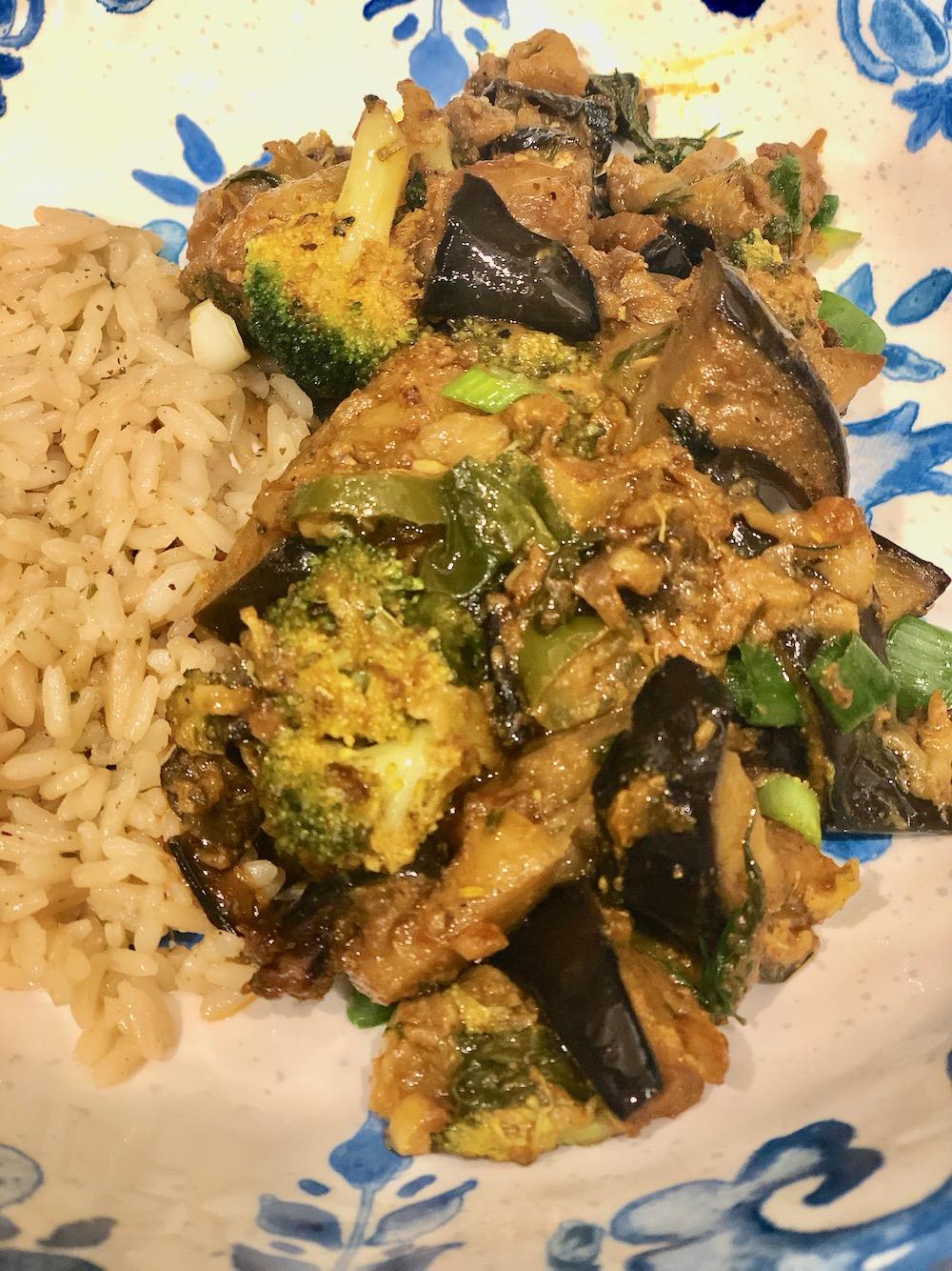 Serve your eggplant broccoli dijonnaise with rice pilaf