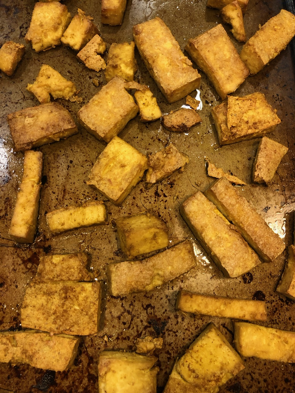 Palak tofu is baked