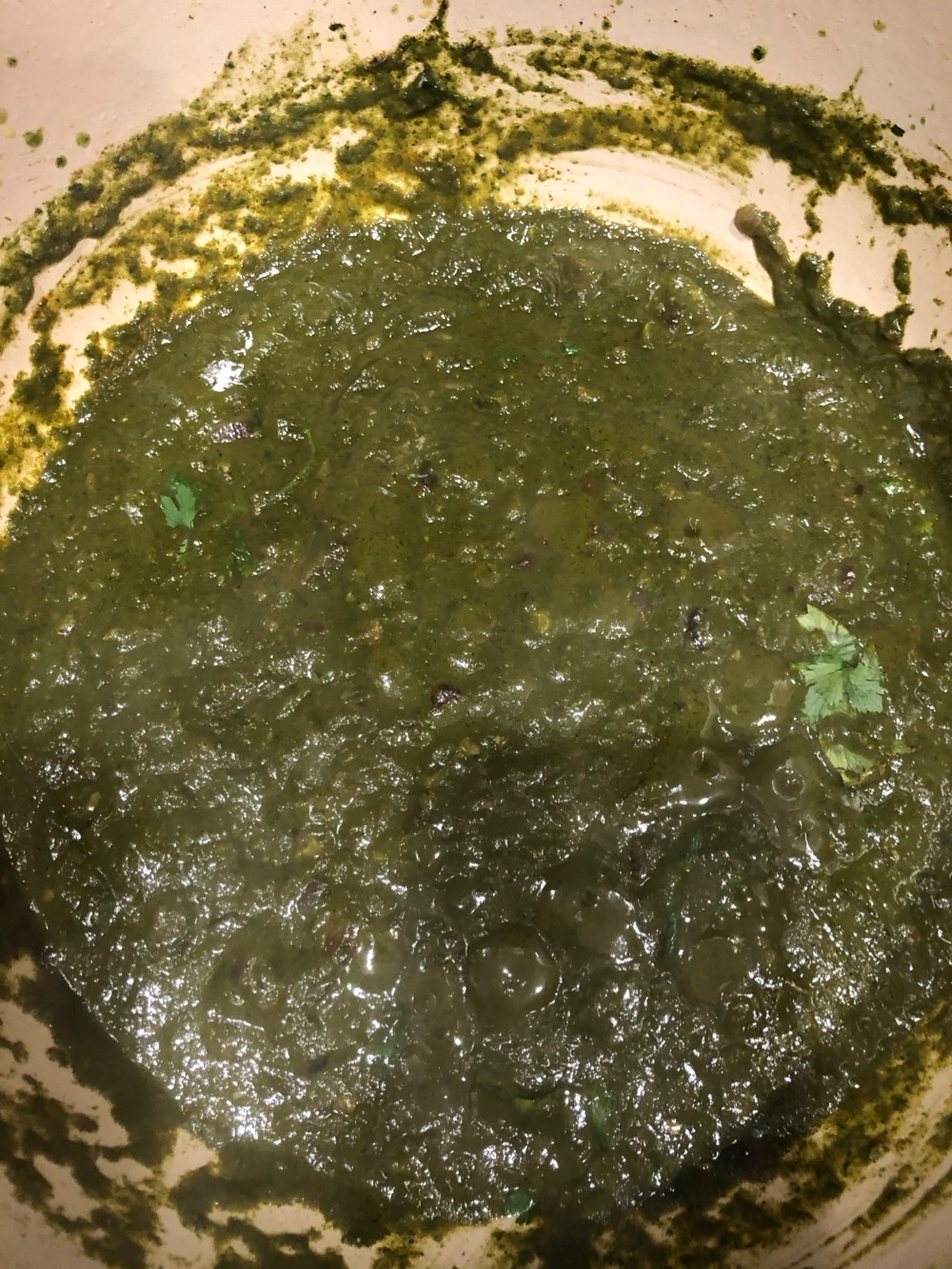 The spinach puree has been added to the sauce.