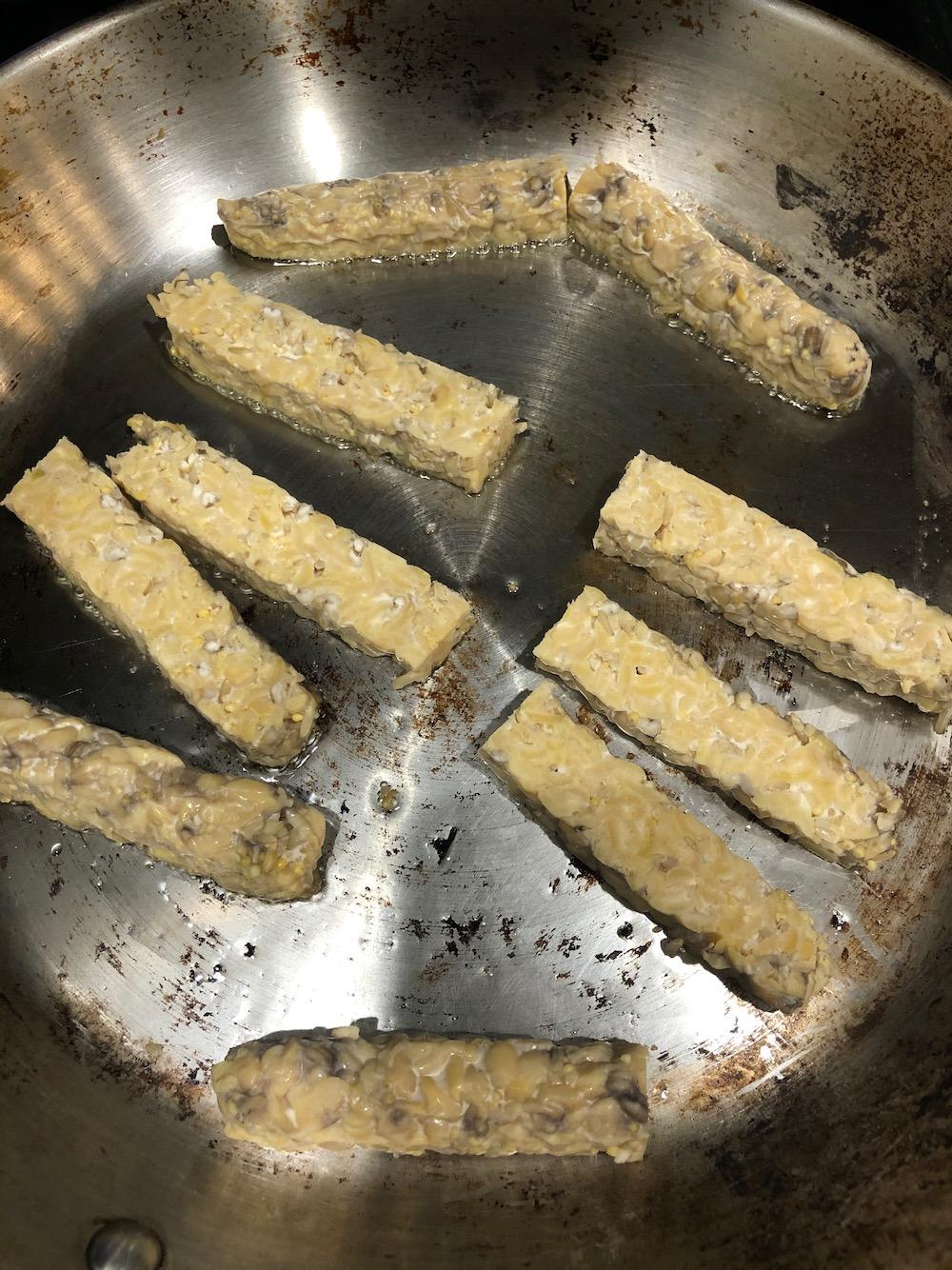 Vegan Tempeh is frying
