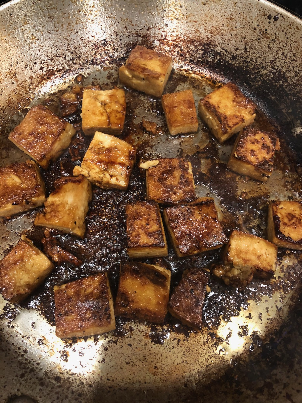 The tofu is almost ready!