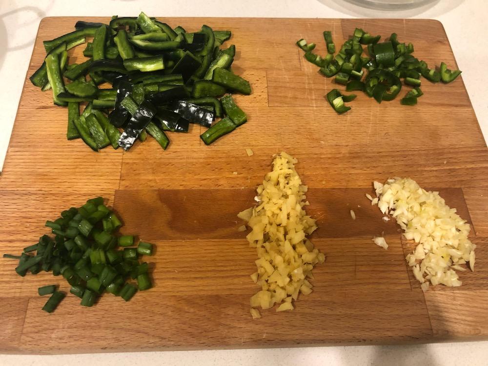 The chopped veggies!