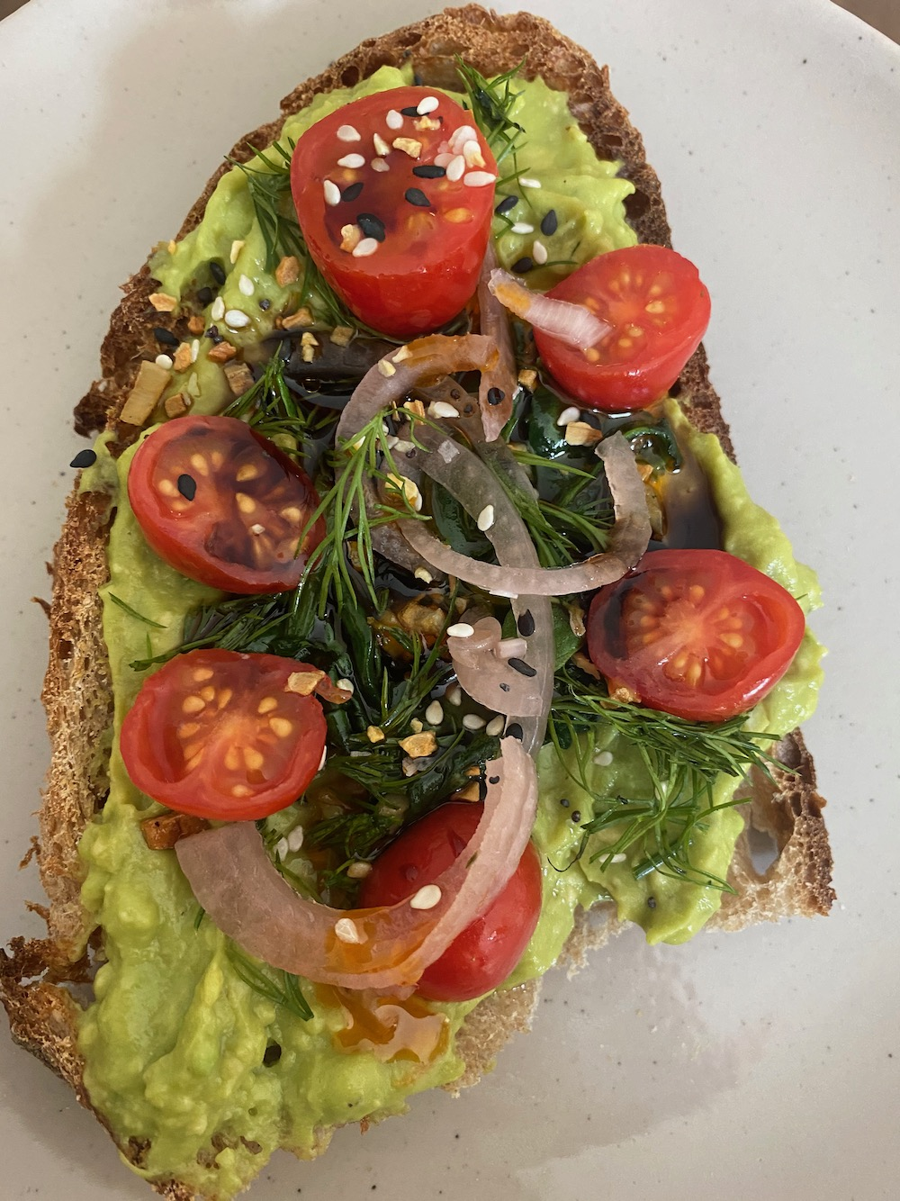 Fancy avocado toast without an egg.