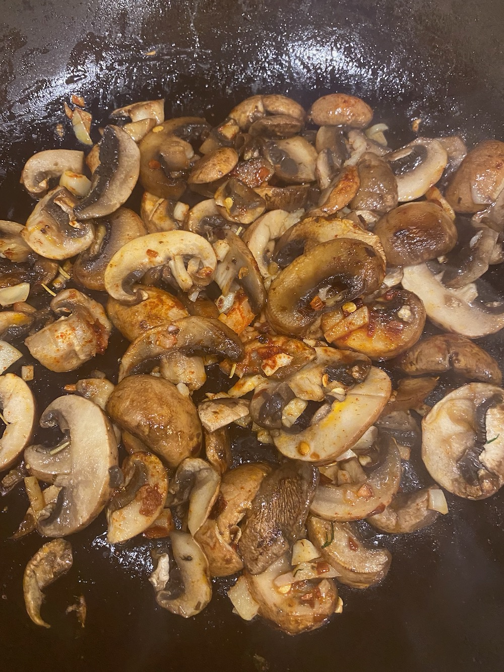 Mushrooms are sautéing.