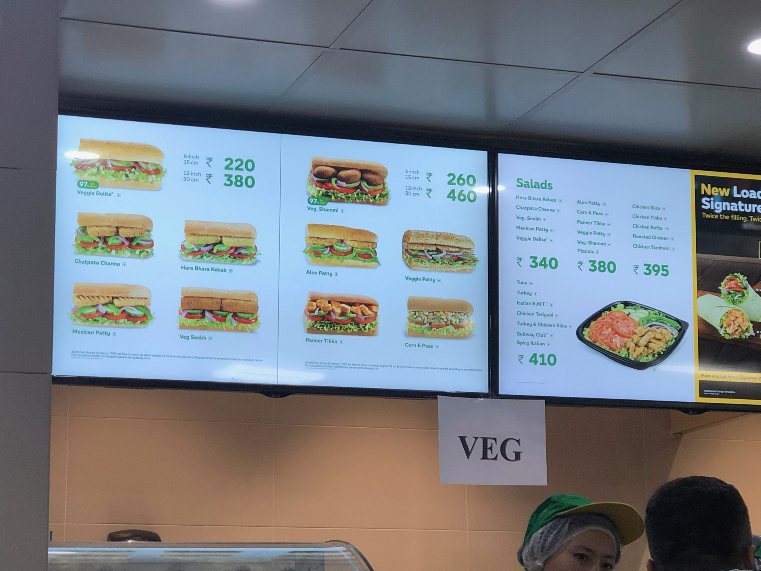 See how vegetarian friendly Subway is at the Goa airport?