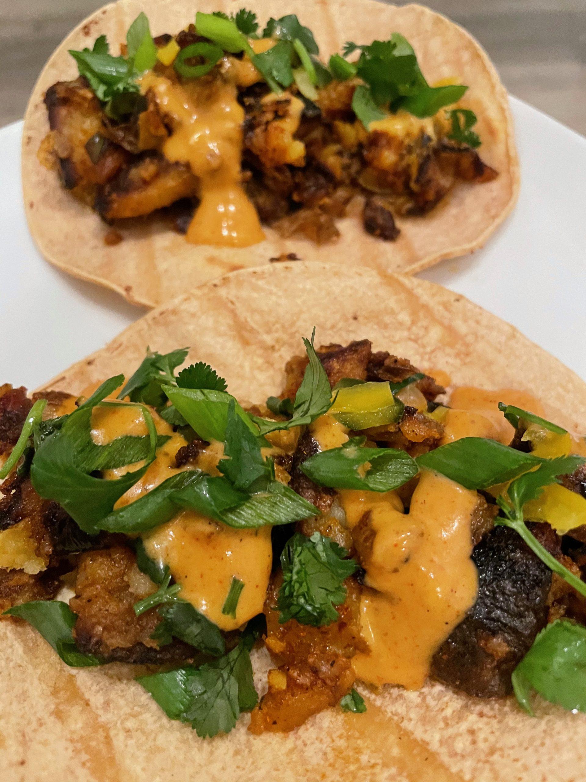 Vegan Chorizo Potato Tacos are ready!